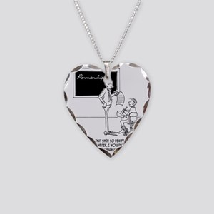 Typing Your Penmanship Homewo Necklace Heart Charm