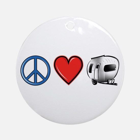 Peace Love & Camping Ornament (Round)