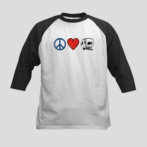 Peace Love & Camping Kids Baseball Jersey