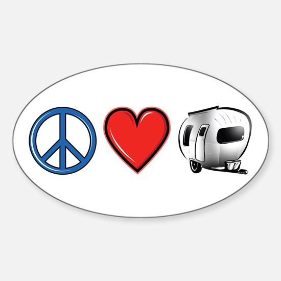 Peace Love & Camping Sticker (Oval)