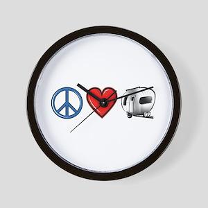 Peace Love & Camping Wall Clock