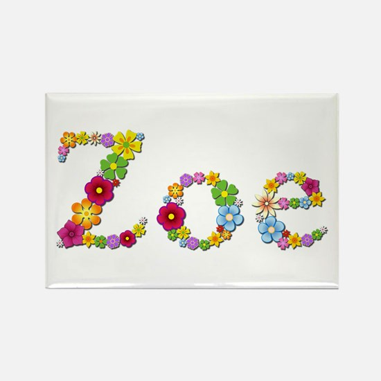 Zoe Bright Flowers Rectangle Magnet