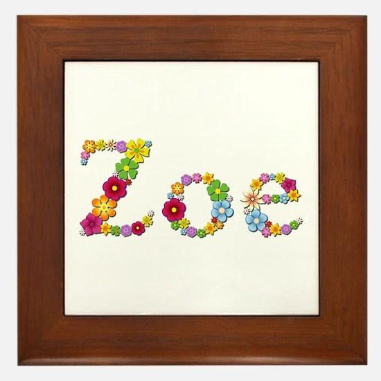 Zoe Bright Flowers Framed Tile