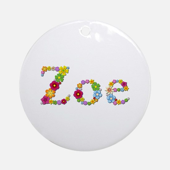 Zoe Bright Flowers Round Ornament