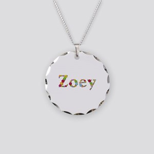 Zoey Bright Flowers Necklace Circle Charm