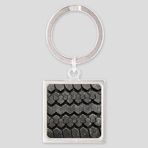 Tire Tracks Square Keychain