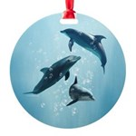 Dolphins in the Sea Round Ornament