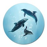Dolphins in the Sea Round Car Magnet