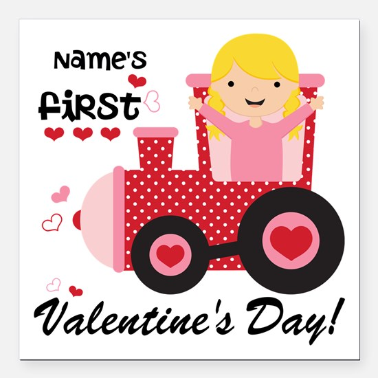 """First Valentine's Day Square Car Magnet 3"""" x 3"""""""