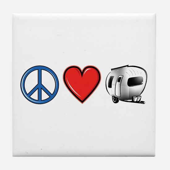 Peace Love & Camping Tile Coaster