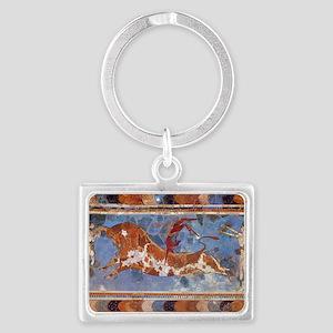Taureau Cavaliers à Knossos Landscape Keychain