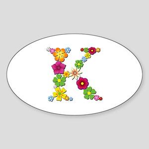 K Bright Flowers Oval Sticker