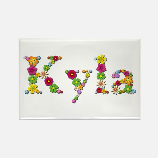 Kyla Bright Flowers Rectangle Magnet