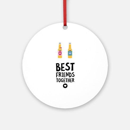 Beerbottles Best friends Heart Round Ornament