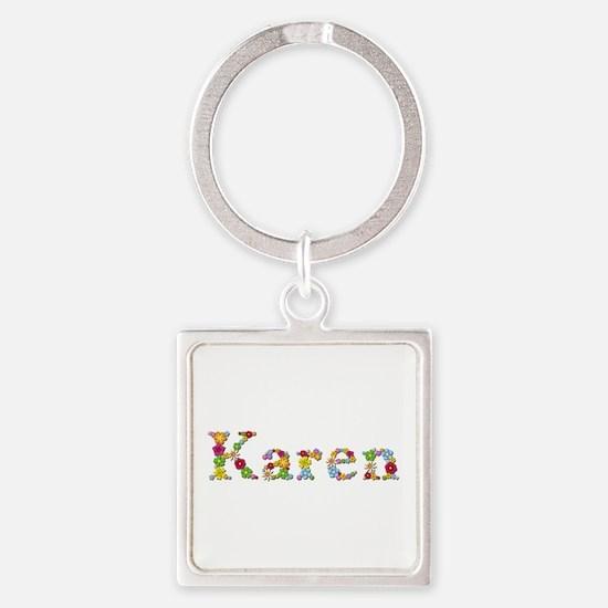 Karen Bright Flowers Square Keychain