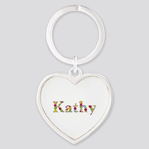 Kathy Bright Flowers Heart Keychain