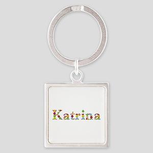 Katrina Bright Flowers Square Keychain