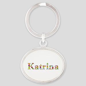 Katrina Bright Flowers Oval Keychain