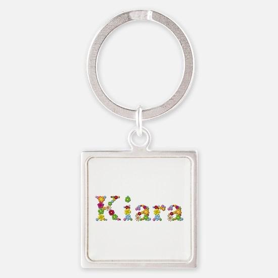 Kiara Bright Flowers Square Keychain