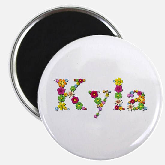 Kyla Bright Flowers Round Magnet 10 Pack