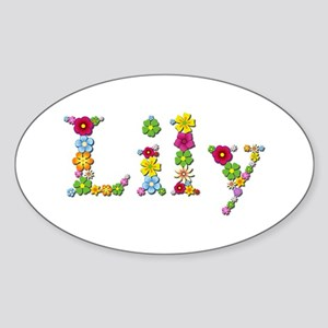 Lily Bright Flowers Oval Sticker