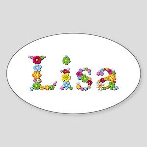 Lisa Bright Flowers Oval Sticker