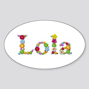Lola Bright Flowers Oval Sticker