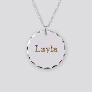 Layla Bright Flowers Necklace Circle Charm
