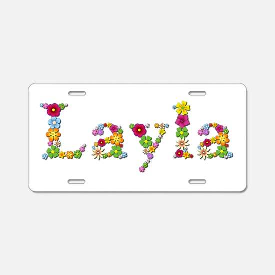 Layla Bright Flowers Aluminum License Plate