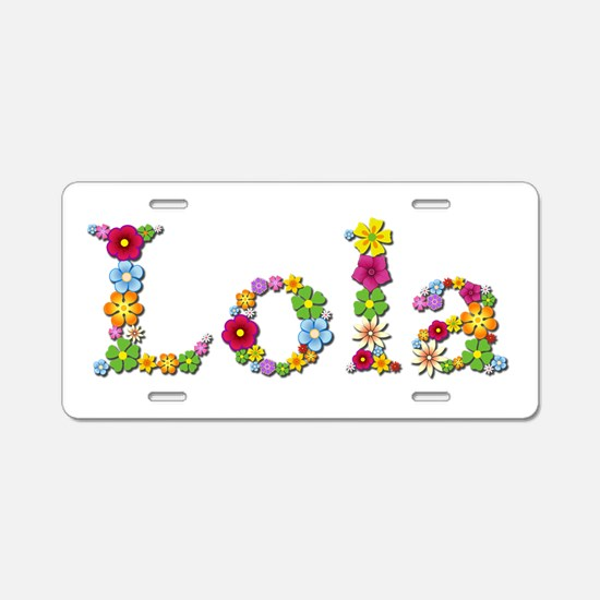 Lola Bright Flowers Aluminum License Plate