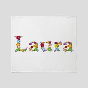 Laura Bright Flowers Throw Blanket