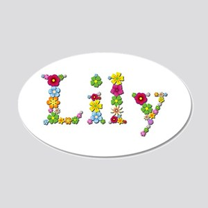 Lily Bright Flowers 20x12 Oval Wall Decal