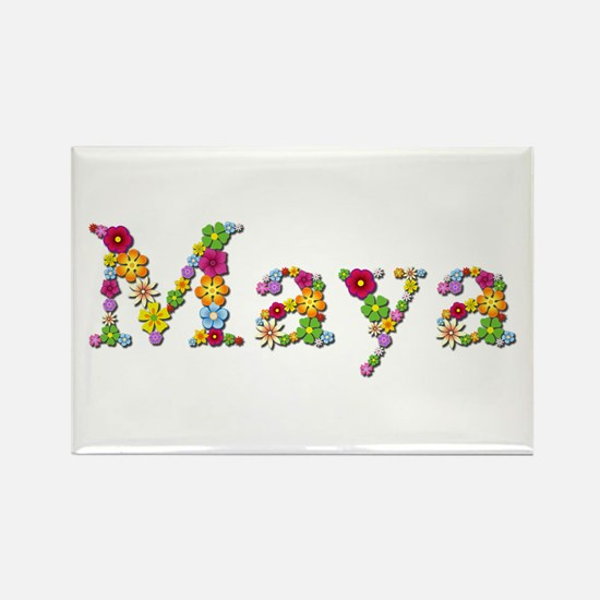 Maya Bright Flowers Rectangle Magnet