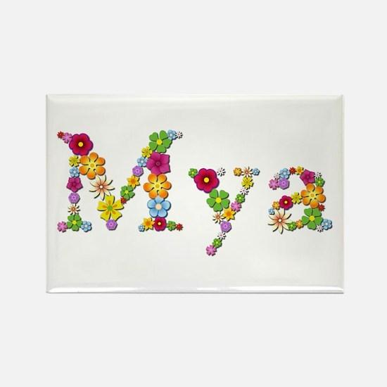 Mya Bright Flowers Rectangle Magnet