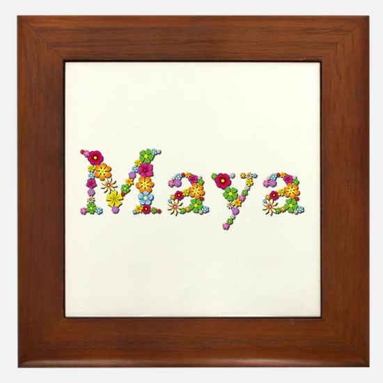 Maya Bright Flowers Framed Tile