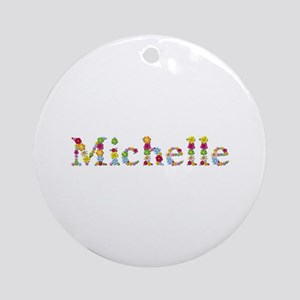 Michelle Bright Flowers Round Ornament