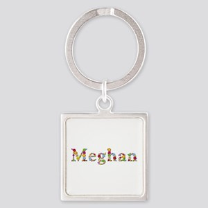 Meghan Bright Flowers Square Keychain