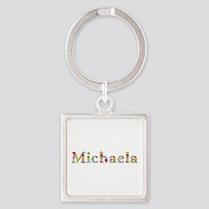 Michaela Bright Flowers Square Keychain