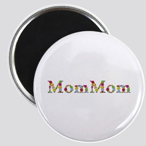 Mommom Bright Flowers Round Magnet