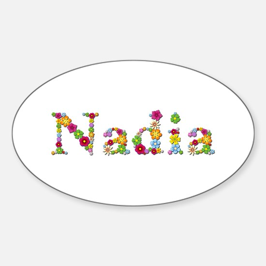Nadia Bright Flowers Oval Decal