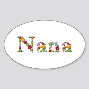 Nana Bright Flowers Oval Sticker