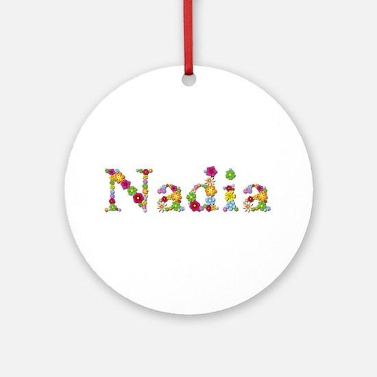 Nadia Bright Flowers Round Ornament