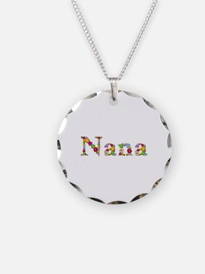 Nana Bright Flowers Necklace Circle Charm