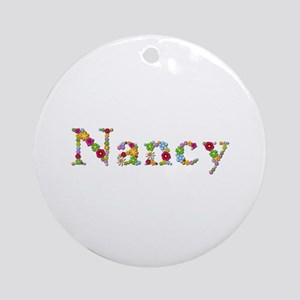 Nancy Bright Flowers Round Ornament