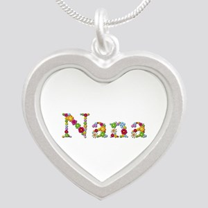 Nana Bright Flowers Silver Heart Necklace