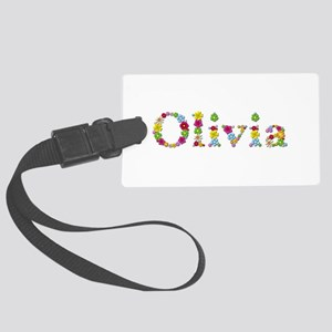 Olivia Bright Flowers Large Luggage Tag