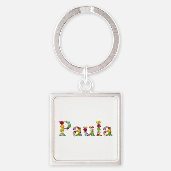Paula Bright Flowers Square Keychain