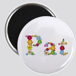 Pat Bright Flowers Round Magnet
