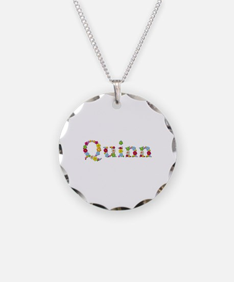 Quinn Bright Flowers Necklace Circle Charm