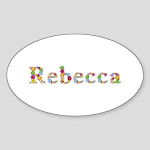Rebecca Bright Flowers Oval Sticker